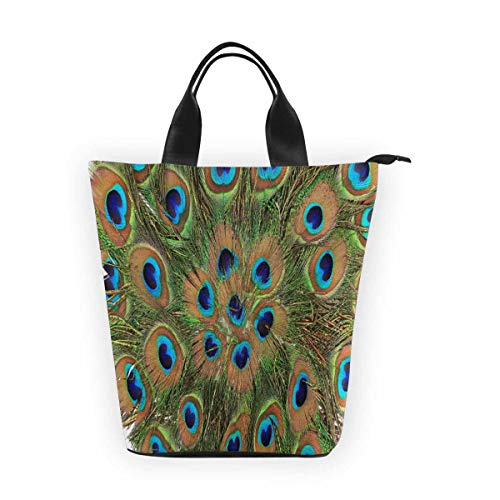 InterestPrint Nylon Cylinder Lunch Bag Peacock Feathers Tote Shopping Handbag - Cylinder Tote Purse