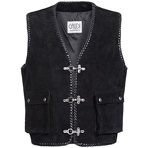 Gaudi-leathers Mens Leather Waistcoat Motorcycle Motorbike Chopper Biker Vest 2XL Black