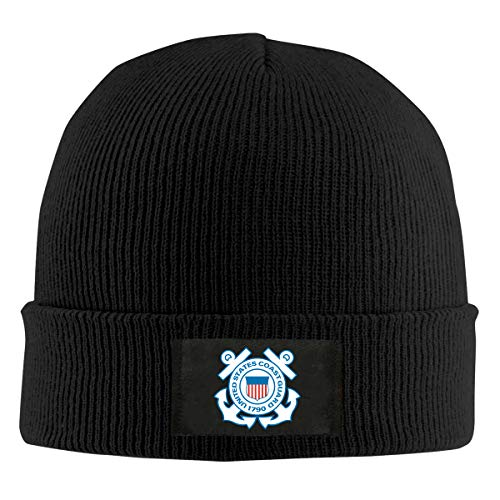 United States Coast Guard Unisex Beanie Cap,Winter Warm Knit Skull Hat Black