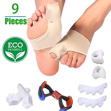 Bunion Corrector and Bunion Relief Protector Sleeves Kit, Toe Separators Spacers Straighteners Treat Pain in