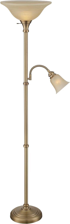Lite Source Torchiere Lamps Ls 82550ab Henley Torch Reading Lamp 17 L X 16 W X 72 H Antique Brass Amazon Com