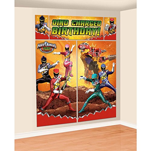 Amscan Power Rangers Dino Charge Birthday Party Scene Setters Wall Decorating Kit, -