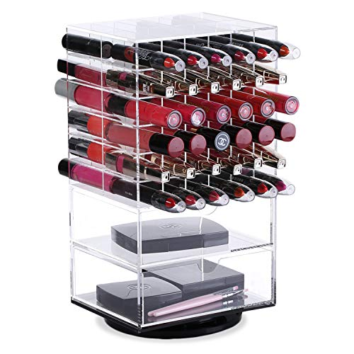 Kata Photo Organizer - Ikee Design Premium Clear Large Acrylic Rotating Cosmetic 72 Lipsticks and 2 Drawers Tower Organizer