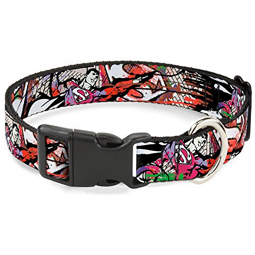 Cat Collar Breakaway Superman Color Flying Bricks Scene 9 to 15 Inches 0.5 Inch Wide