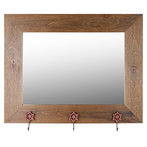 Mirrorize.ca Hanging Wall Decorative Mirror with Brown Wash Frame and Orange Tap Hangers, 37-Inch by 29-Inch