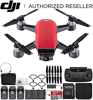 DJI Spark Portable Mini Drone Quadcopter Fly More Combo Ultimate Bundle (Lava Red) from SSE