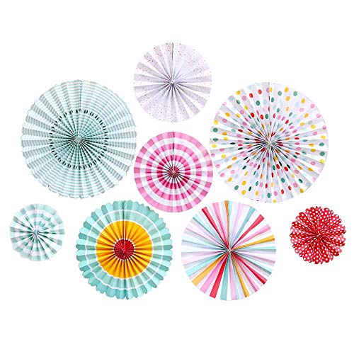 Yugust Paper Craft Set Paper Fan Flower Hanging Banner 8pcs Round Tissue Garland Wall Home Decor Supplies Flavor Handmade Striped Pinwheels for Kids Birthday Wedding Party Decoration (Colorful)