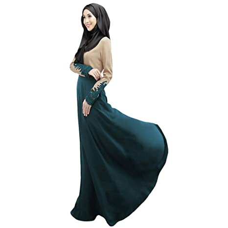 c43e9f1415c8 Amazon.com: Women Summer Casual Lace Long Dress, Lady Crew Neck Middle  Eastern Turkish Fashion Maxi Dresses Buckle Muslim Robes: Kitchen & Dining