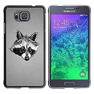 """For Samsung Galaxy Alpha G850 , S-type Negro y blanco friendly Raccoon"""" - Arte & diseño plástico duro Fundas Cover Cubre Hard Case Cover"""