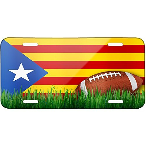 Football with Flag Catalonia region Spain Metal License Plate 6X12 Inch by Saniwa