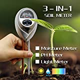 Soil pH Test,3-in-1 Soil ph Meter Test Kits Gardening Tools with Ph Acidity Light Moisture Meter,Plant Care Soil Tester for Lawn, Garden,Farm,Home,Office-Indoor/Outdoor(No Battery needed)-Silver