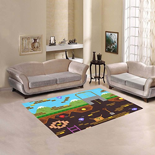 Happy More Custom Retro Style Bit Video Game Area Rug Indoor/Outdoor Decorative Floor Rug