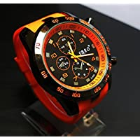 Stainless Steel Luxury Sport Analog Quartz Modern Men Fashion Wrist Watch - Orange