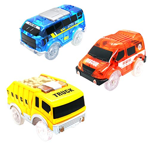 Track Cars Compatible with Magic Tracks and Neo Tracks Replacement Light Up Racing Track Accessories with 5 Flashing LED Lights Glow in The Dark Best Toys for Boys and Girls ( 3 Pack )