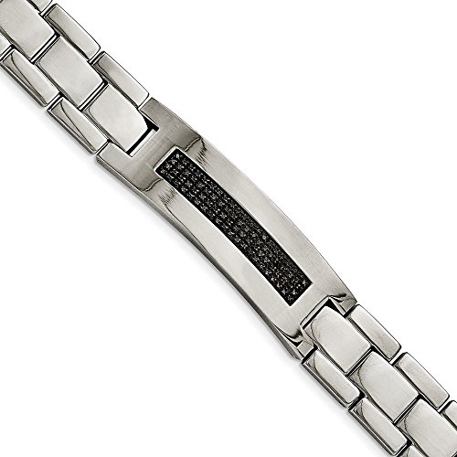 Saris and Things Stainless Steel Polished 1/2ct tw. Diamond Bracelet 8.25in (1/2 Ct Tw Diamond Bracelet)