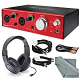 Focusrite Clarett 2Pre - Thunderbolt Audio Interface Bundle W/ 2x XLR Cable +MIDI to 2 MIDI (Dual) Cable + 2x 1/4 Inch Cable + Samson Stereo Headphones + FiberTique Cleaning cloth