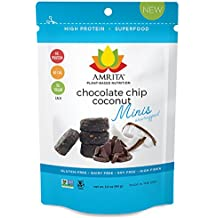 Amrita Nutrition Protein Bar, Chocolate Chunks, 24g Total Protein per Pack, 58 Cals per High Protein Mini Bar, Low Carb Bars, Gluten Free, Soy Free (Chocolate Chip Coconut)