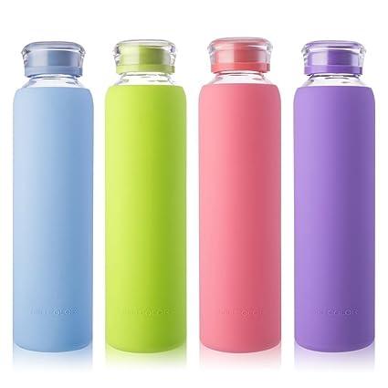 MIU COLOR Botellas de Agua de Cristal para Smoothies, jugos de Frutas, Leche y Bebidas, Libre de BPA
