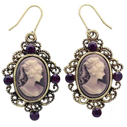Purple Cameo Dangle Drop Earrings Oval Lady Women Fashion Jewelry (Cameo Drop)