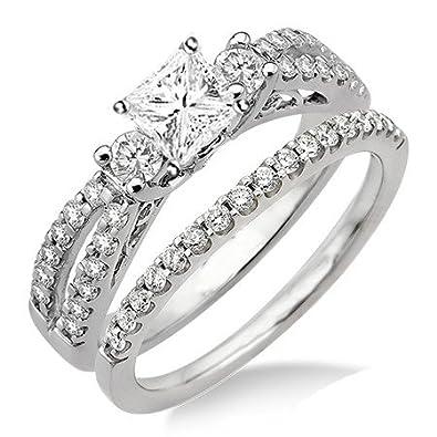 5cbeb33394b 1.92 Carat Antique Diamond Wedding Set Princess cut Diamond on 14K White  gold  JeenJewels  Amazon.co.uk  Jewellery