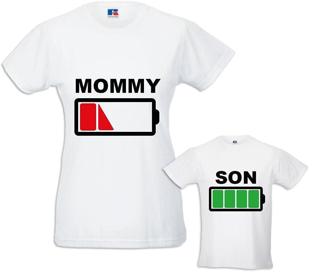 Coppia di T-Shirt Magliette Mamma E Figlio Idea Regalo Festa della Mamma Battery Mom
