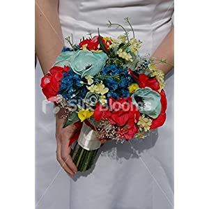 Yellow Red Blue Bridal Bouquet w/ Roses, Hydrangea and Anemones 1