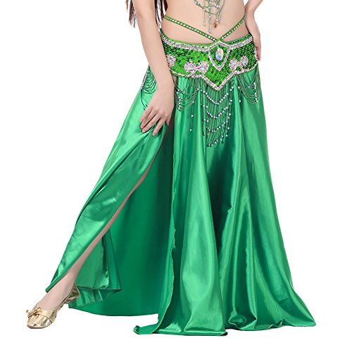 Green Belly Dance Costume - AvaCostume Womens Split Sides Long Belly Dance Skirts, darkgreen