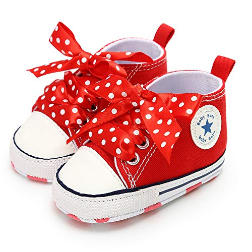 (Isbasic Baby Boy Girl Canvas High Top Sneakers Infant Toddler Soft Sole First Walkers Shoes (6-12 Months M US Infant,)