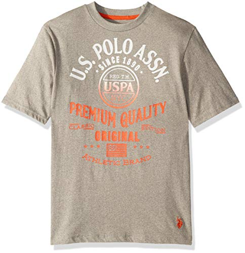 (U.S. Polo Assn. Boys' Big Short Sleeve Graphic T-Shirt, Gradient Screen Print Marled Light Grey, 8)
