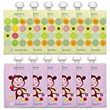 reusable baby food pouch 7 oz - Sage Spoonfuls Squeezie 12 Piece Reusable Food Pouch, Monkey/Fruit Dots
