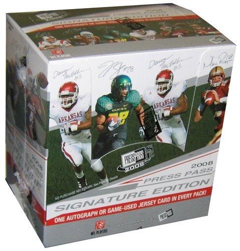 (Press Pass 2008 Signature Edition SE Football Cards - Factory Sealed Hobby Box - 9 AUTOGRAPHS (Possible Matt Ryan, Flacco or Darren McFadden) & 3 Jersey Cards Per Box On Average!)