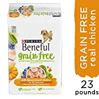 Fill your dog's bowl with Purina Beneful Grain Free With Real Farm-Raised Chicken adult dry dog food, and give him a meal that features real farm-raised chicken as the #1 ingredient. With accents of blueberries, pumpkin and spinach, this adul...