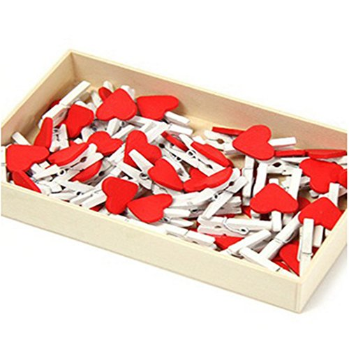 Red Heart Photo - CiCy 50 Pcs Sweet Love Heart Shape Wooden Clips Message Photo Holder Card Paper Pegs Decor Photography Red with One Box