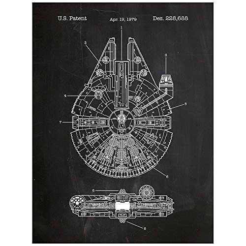Inked and Screened Millennium Falcon Posters & Prints, 18 x 24, Chalkboard by Inked and Screened