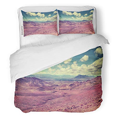 Semtomn Decor Duvet Cover Set King Size Blue Adventure Desert Mountain Scenery Retro Vintage Moroccan Scenic Landscape Red 3 Piece Brushed Microfiber Fabric Print Bedding Set Cover -