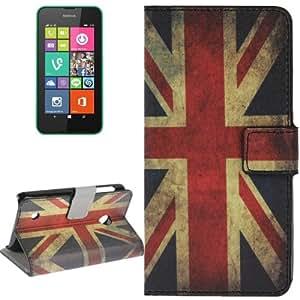 Retro UK Flag Pattern Case Funda con tapa Cover Card Holder & Slots & Wallet para Nokia Lumia 530