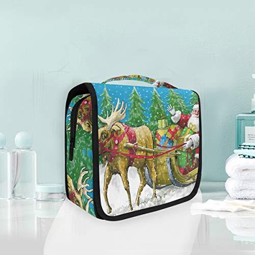 (Makeup Cosmetic Bag Santa Clause Riding Reindeer Christmas Tree Snow Field Portable Storage Travel Toiletry Bag)