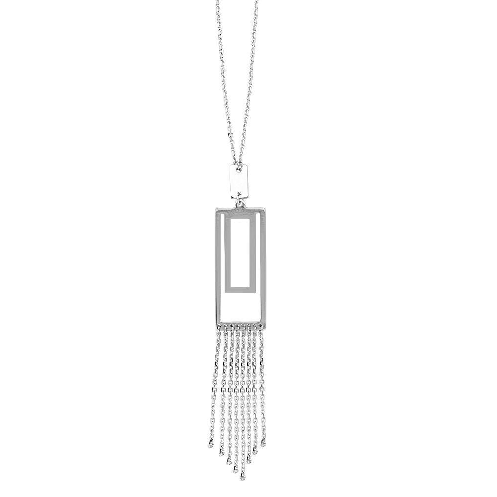 Sterling Silver Adjustable Double Rectangular Lariat Adjustable Necklace