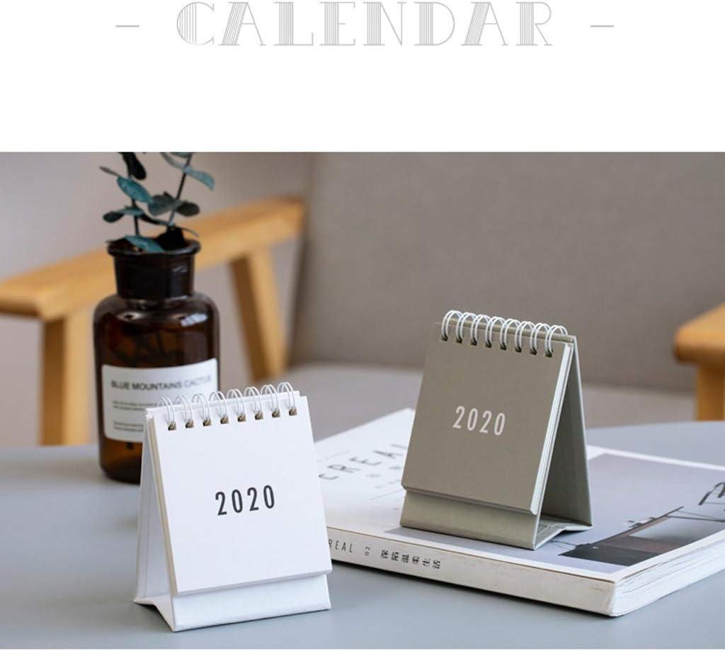 Comie Tischkalender Kalender 2020 Mini Tischquerkalender Stand Up Flip Kalender T/äglich Monatlich Tisch Planer Monatskalender Agenda Organizer T/äglicher f/ür Home School Office Verwenden Wei/ß