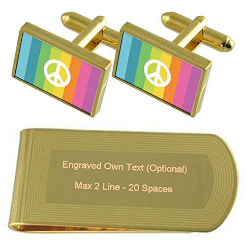Set Gift tone Engraved Flag CND Money Cufflinks Clip Gold RWfppcq8