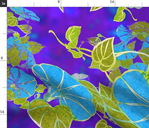 Floral Stained Glass Fabric - Morning Glories Tuquoise Greenery Purple Flowers Art Deco Blue Green Print on Fabric by The Yard - Velvet for Upholstery Home Decor Bottomweight Apparel