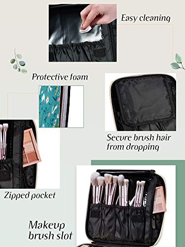 Joligrace Makeup Travel Bag Organizer for Women Cute Cosmetic Storage Train Case Portable Big Large Capacity with Extra Pouch for Make-Up Brush Toiletry Jewelry Green Forrest Print