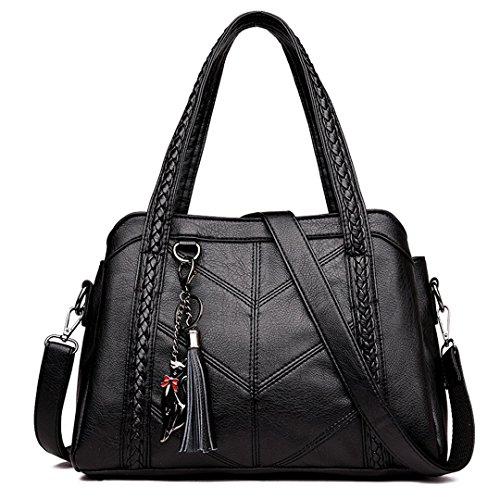 Pu Leather Fringed Woven Ladies Shoulder Bag Famous Designer Retro Messenger Handbag Black