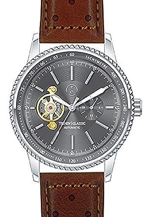 Trendy Classic automatic-cc1028 – 20-montre homme-automatique-boitier acier-cadran Farbe canon-bracelet Leder perforiert
