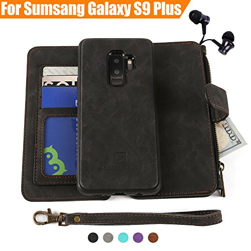 Detachable Strap Zipper (Galaxy S9 Plus Case, Modos Logicos [Detachable Wallet Folio][2 in 1][Zipper Cash Storage][Up to 14 Card Slots 1 Photo Window] PU Leather Purse Clutch with Removable Inner Magnetic TPU Case - Black)
