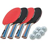 Killerspin JETSET4 - Table Tennis Set with 4 Ping Pong Paddles and 6 Ping Pong Balls