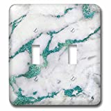 3dRose Uta Naumann Faux Glitter Pattern - Image of Luxury and Trendy Teal Metal Glitter Veins Gray Marble - Light Switch Covers - double toggle switch (lsp_275087_2)