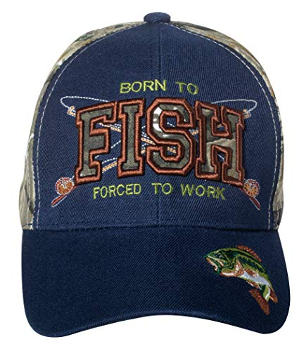 - Born to Fish, Forced to Work - Funny Fishing Hat - Fisherman Gift Embroidered Cap (Navy & Hunting Camo)