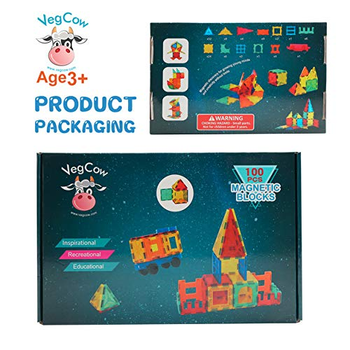 VegCow 100pcs Magnetic Tiles Set - 3D Magnet Building Blocks, Educational Construction Toys for Kids – Super Durable with Strong Magnets and Superior Color by VegCow (Image #5)