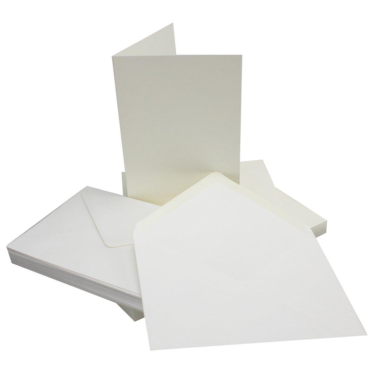 Sets–plegable Tarjetas DIN A5–Natural de blanco + sobres–PREMIUM CALIDAD–14,8x 21cm–Muy Estable–para Impresora Adecuado. Marca de calida